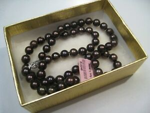 Vintage 14k White Gold Cultured Brown Luster Chocolate PEARL Bead Necklace.  #9