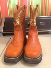Justin Womens 7b Orange Tooled Leather Cowboy Boots Gypsy L801s Suede (ml)