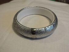 Beautiful Bangle Bracelet Silver Tone Metallic Wrapped 2 1/2 x 7/8 Wide NICE