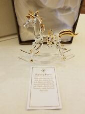 Pier 1 Rocking Horse Figurine handcrafted Glass Gold Crystal New