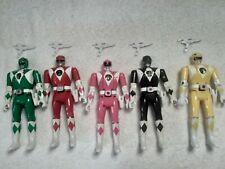 Power Rangers Vintage 90's Bandai  Lot of 5 Flip-Head Rangers & Accessories