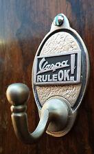 Vespa Rule OK Key Hook / Coat Hook (EXCLUSIVE DESIGN) Pewter Scooter