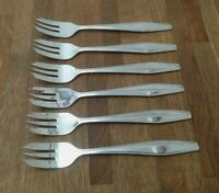 """VINTAGE CUTLERY - SET OF 6 LARGE CAKE FORKS - DIAMOND STAINLESS = SIZE 6.7"""" #148"""