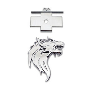 Silver Wolf Head Logo Front Grille Emblem Sport Chrome Metal Right Grill Badge