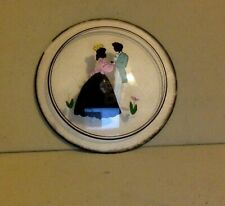 Vintage Silhouette Reverse On Glass. Courting Couple. Round. Peter Watson Studio