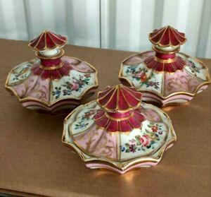 """Antique French Porcelain Vanity Set, 3 Pcs. 5.25"""" W."""
