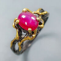 Star Ruby Ring Silver 925 Sterling Vintage8x6mm Size 8 /SRT19-148-1