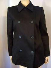 Designer MICHAEL KORS Italy Satiny Black Peacoat Chic Jacket 8