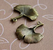Antique Bronze Charm Gingko Leaf - pack of 10