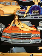AH185 Hot Rods Bikini Babes Pin Up Girls Cars Black Cotton Fabric Quilt Fabric