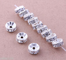 100 Pcs 8mm Silver Plated Crystal Spacers Rondelle Beads Jewelry Findings Charms