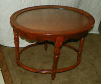 Oval Walnut Glass Tray Coffee Table  (CT46)