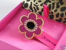 Betsey Johnson Goldtone Pink Black Enamel Flower Ring 7