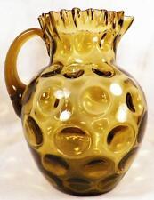 Northwood Coin Dot Water Lemonade Pitcher Amber Blown Glass Ruffled Antique