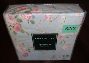 NEW Laura Ashley King Sheet Set 100% Cotton Blue Pink Green Floral Roses Country