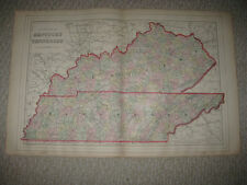 Large Gorgeous Antique 1887 Kentucky Tennesee Mitchell Map Nashville Louisville