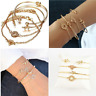 4Pcs Leaf Knot Simple Adjustable Women Fashion Open Bangle Gold Bracelet Jewelry