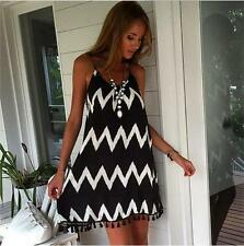 """TARNIE"" GORGEOUS LADIES SIZE 12 BLACK WHITE CHEVRON SOFT STRAPPY SHIFT DRESS"