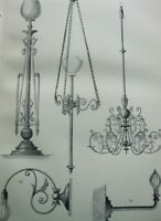 ANTIQUE PRINT C1870'S ELECTRIC LIGHTING ENGRAVING LIGHT FITTINGS HOME ETCHING