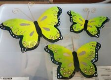 butterfly metal wall decor - green/black/gold - set of 3