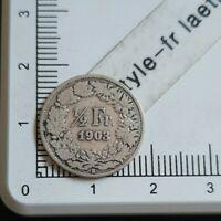 I08405 assez rare demi franc suisse 1903 pièce de monnaie argent silver coin