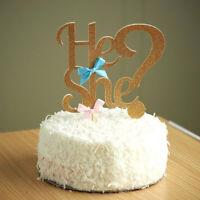 Gender reveal  baby shower baby boy girl He or She glitter cake topper