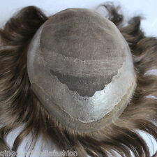 brown hair piece for men 3# French lace toupee human hair replacement in stock