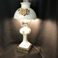 Vintage Floral Gone With The Wind Hurricane Lamp w/ OPAQUE Shade and Brass Base