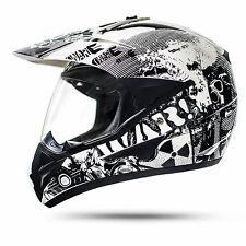War Enduro Helm mit Visier Weiß S ECE2205 Motorradhelm Motocross Crosshelm