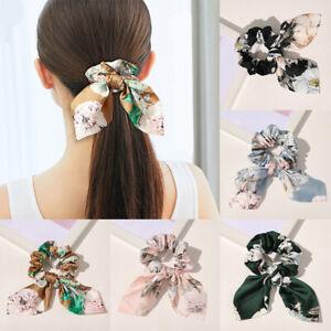 Floral Prints Satin Scrunchies Headwear Women Bowknot Hair Ring Rope Ties Band