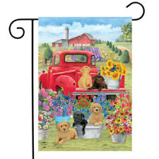 """Spring Day Puppies Garden Flag Red Pickup Truck Floral 12.5""""x18"""" Briarwood Lane"""