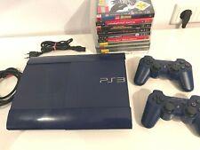 PS3 Blau, Sony PlayStation 3 slim modell 500 GB - PAL, 10 Spile, 2 Controller