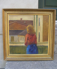 Edward Hopper Style Portrait of back-turned woman on balcony. 1930s. Signed.
