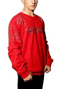 Versace Sweatshirt Mens RED Mettalic logo Sz 4XL / US SZ XL 100% AUTHENTIC $1195