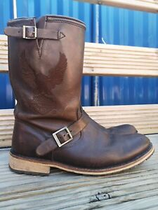 Men's Harley Davidson Clint Brown Leather Riding Boots Wide Size Uk10 Eu44 Us11