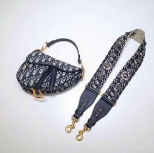 Dior Bag Saddle Christian Leather Vintage Authentic Oblique Black Shoulder