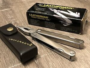 Vintage Leatherman PST Pocket Survival Tool -RARE FONT- w/Leather Sheath 1997