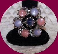 Vintage Silver Tone Wreath Pin with Pink & Blue Moonglow Beads.