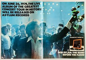 BOB DYLAN THE BAND 1974 original POSTER ADVERT BEFORE THE FLOOD Asylum Records