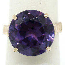 Vintage 14k Yellow Gold Large Round 14.1mm Prong Set Alexandrite Solitaire Ring