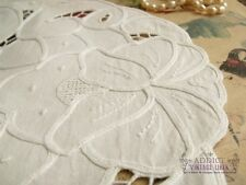 """6pcs Lot -Vtg HAND Cut work  Doilies FRENCH ROSES Tape Lace White - Wedding 11"""""""