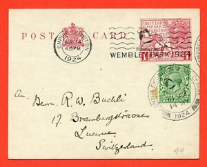 George V 1924 Wembley Exhibition Post Card Dated 14th May 1924. Super Cancel.