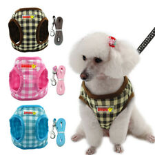 Soft Grid Puppy Dog Harness Vest and Leash for Small Medium Dogs Chihuahua S-XL