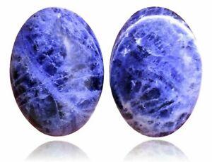 3 Sodalite Stones Blue Oval Cabochons Hong Kong 25 x 18 mm Vintage