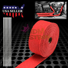 "Red Exhaust Pipe Header Insulation Thermal Heat Wrap 2"" x 50' Motorcycle Car"