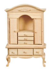 Dollhouse Miniature Dresser or Display Hutch 1:12 Scale Unfinished Wood