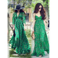 New Women Ladies Chiffon Boho Long Sleeve Party Evening Cocktail Prom Maxi Dress