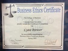 Business Ethics Certificate CSU In Frame For Lynn Brewer Enron Collectible