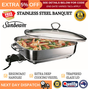 Sunbeam Banquet Frypan Stainless Steel Skillet Cooker Fry Pan Glass Lid Electric