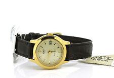 Vergoldete Armbanduhren mit Kunstleder-Armband für Damen